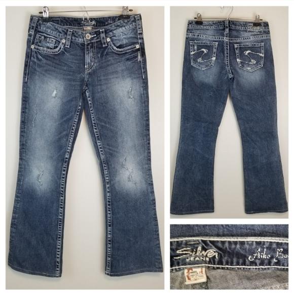 Silver 28W/30L Aiko Bootcut Dark Jeans Distressed